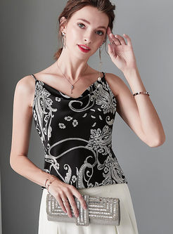 Fashion V-neck Print Slim Cami