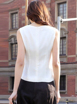 Brief All-matched White Sleeveless Pullover Top
