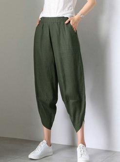 Brief Pure Color Linen Thin Casual Harem Pants