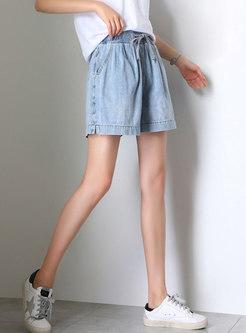 Casual Tied Waist Summer Denim Shorts