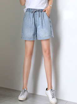 Casual Tied Waist Summer Denim Shorts
