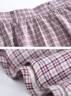 Vintage Plaid Bowknot High Waist All-matched Skirt