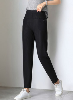 Solid Color High Waist Mesh Ankle-length Pants