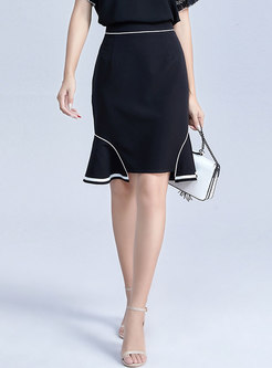 Stylish All-matched Black Falbala Slim Sheath Skirt