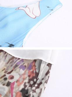 Cartoon Print O-neck Sleeveless Pleated Skater Dress