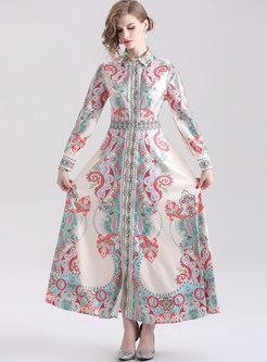 Chic Totem Print Long Sleeve Big Hem Maxi Dress
