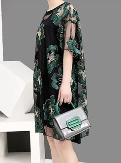 Stylish Flower Embroidered Perspective Street Shift Dress