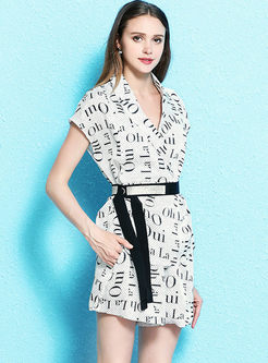 Fashion Notched Letter Print Two Piece Outfits