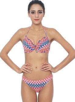 Sexy Halter Gathered Geometric Print Bikini