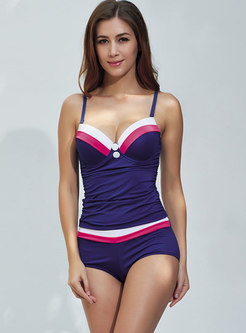 Sexy Color-blocked Gathered Slim Tankini