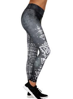 Chic Geometric Print Sheath Elastic Pants