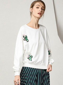 Fashionable Embroidered O-neck Loose Sweatshirt