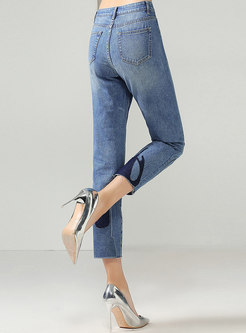 Denim High Waist Embroidered Pencil Pants