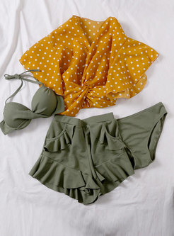 Chic Polka Dot V-neck Four Piece Swimwear