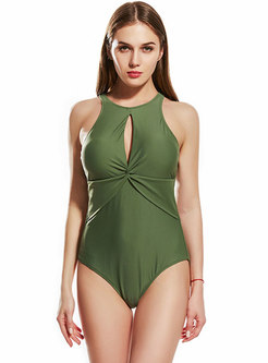 Pure Color Hollow Out Slim One Piece Swimwear