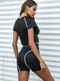 Casual Reflective Strip Stitching Slim Yoga Tracksuit