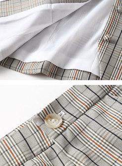 Plaid Splicing Tie-collar Slim Top & Flare Pants