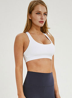 Solid Color Scoop Neck Back Cross Sports Bra