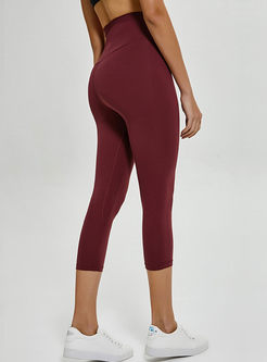 Brief Pure Color High Waist Sheath Yoga Pants