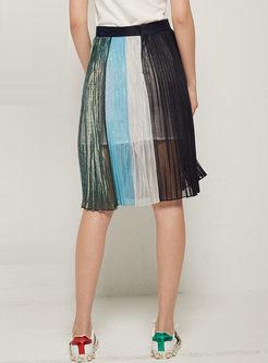 Chic Color-blocked Elastic Waist Mesh Skirt