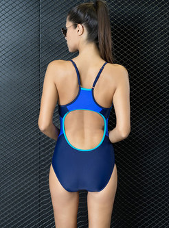 Sexy Color-blocked Backless Sheath One Piece Swimwear