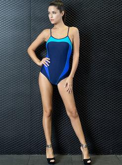 Sexy Color-blocked Backless Sheath One Piece Swimwear