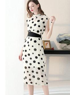 Polka Dot Stand Collar Sleeveless Tied Sheath Dress