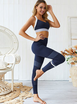 Sexy Color-blocked Back Cross Yoga Tracksuit
