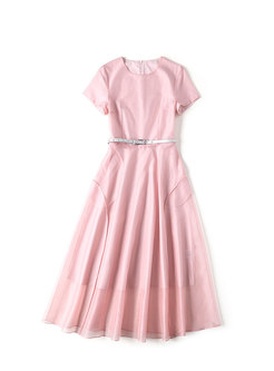 Pure Color High Waist Belted Hem Skater Dress