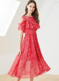Polka Dot Off Shoulder Elastic Waist Slim Dress