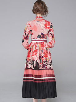 Court Ribbon Neck Long Sleeve Print Pleated Dress