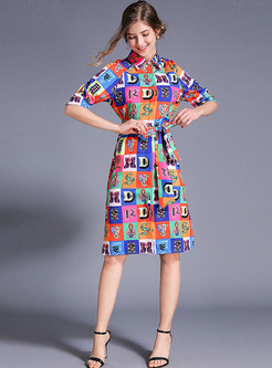 Multi-color Lapel Single-breasted Tied T-shirt Dress