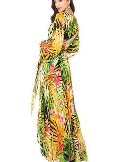 Bohemian V-neck Lantern Sleeve Print Maxi Dress