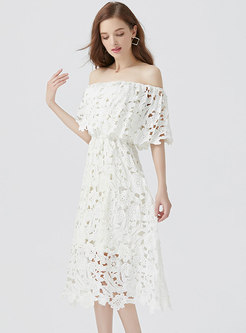 Sexy Lace Slash Neck Hollow Out Slim Dress