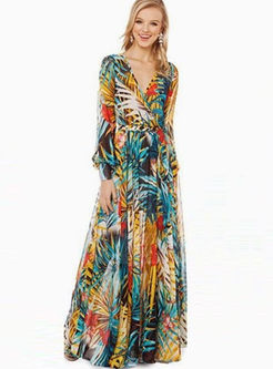 Trendy V-neck High Waist Big Hem Print Beach Dress