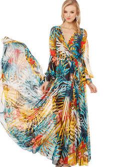 V-neck High Waist Big Hem Print Beach Dress