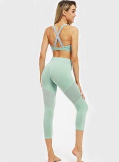 Solid Color Splicing Moisture Wicking Tight Yoga Tracksuit