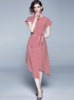 Retro O-neck Striped Tie-Waist Asymmetric Dress