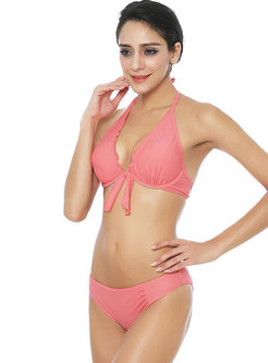 Sexy Pink Halter Tied Backless Bikini