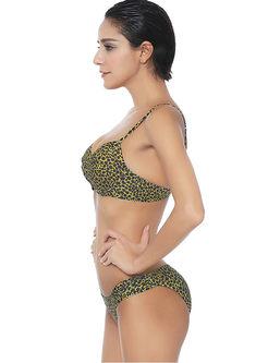 Chic Sexy Leopard Gathered Bikini