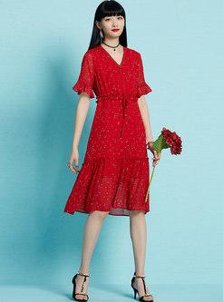 Vintage V-neck Summer Print Tied Skater Dress
