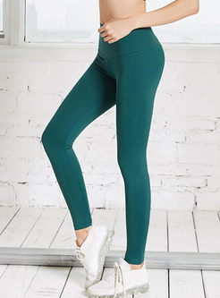Solid Color High Waist Elastic Slim Yoga Pants