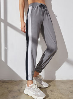 Casual Elastic Tied Color-blocked Stripe Pants