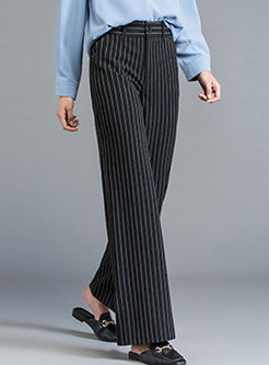 Casual High Waist Stripe Slit Wide Leg Pants