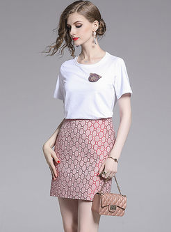 Brief Pullover O-neck T-shirt & Slim Print Skirt