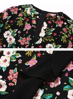 Chic Multi-color Asymmetric Falbala Gathered Waist Skater Dress