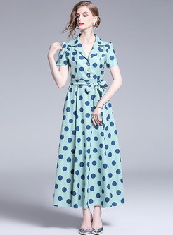 Stylish Polka Dot Lapel Tied Maxi Dress