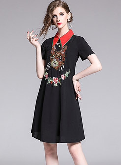 Trendy Cartoon Embroidered Turn-down Collar A Line Dress