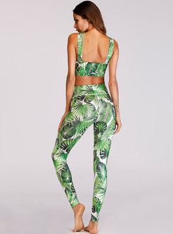 Sexy Leaves Print Cross Belt Yoga Bra & Sport Pants