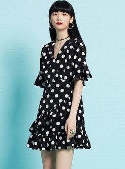 Fashion Dots Pattern Retro Flare Sleeve Mini Dress